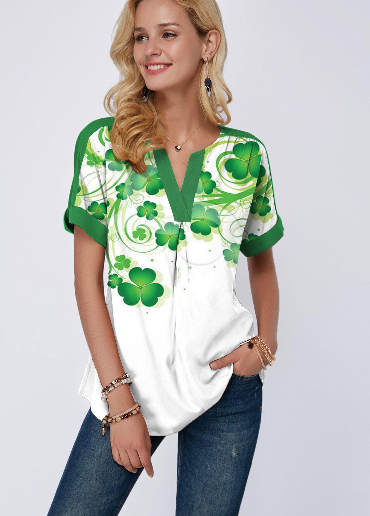 ROTITA Shamrock Print Short Sleeve Split Neck T Shirt