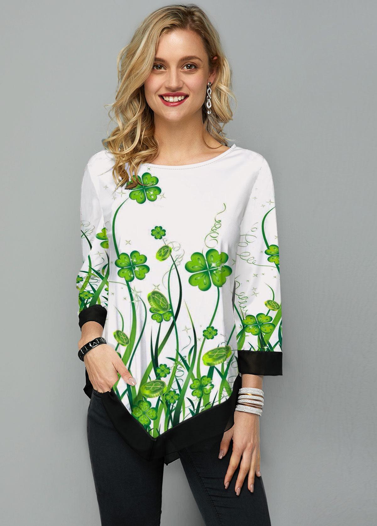ROTITA Three Quarter Sleeve Asymmetric Hem Shamrock Print T Shirt