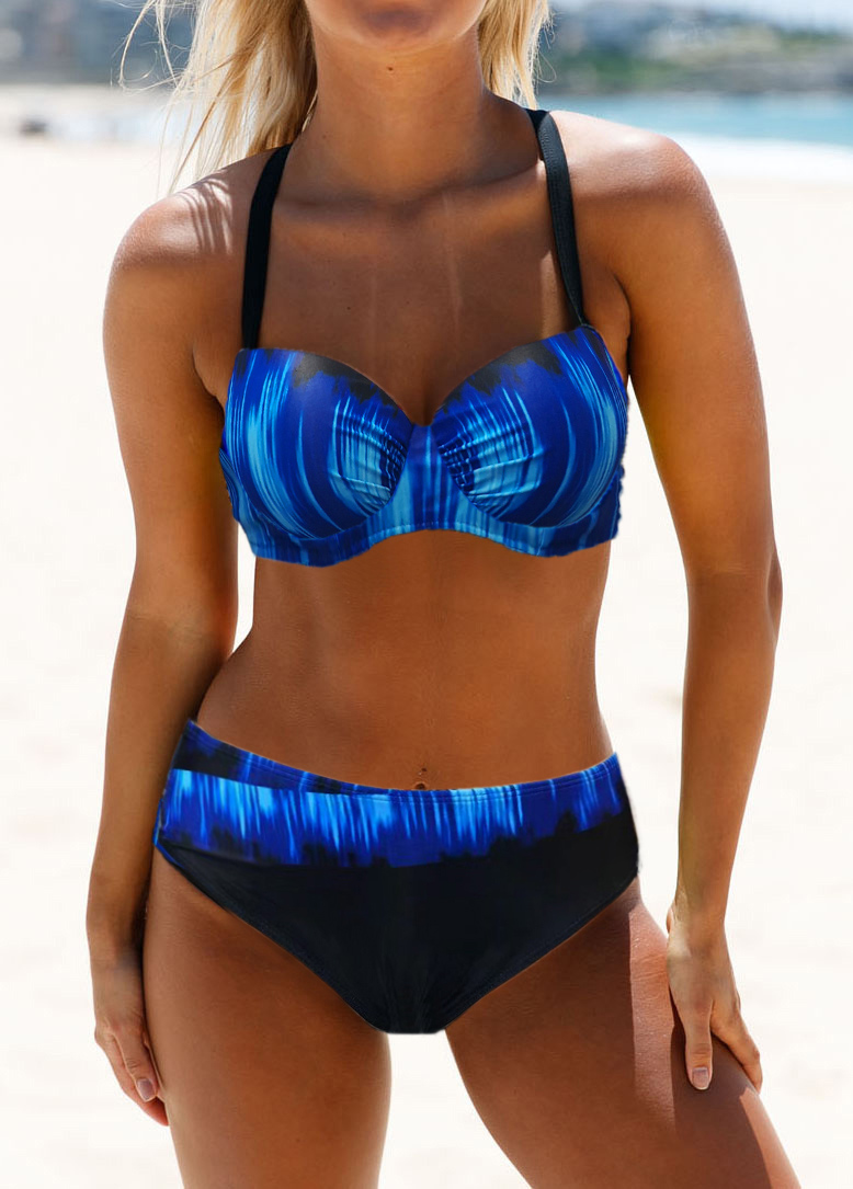 Dazzling Blue Cross Strap Bikini Set