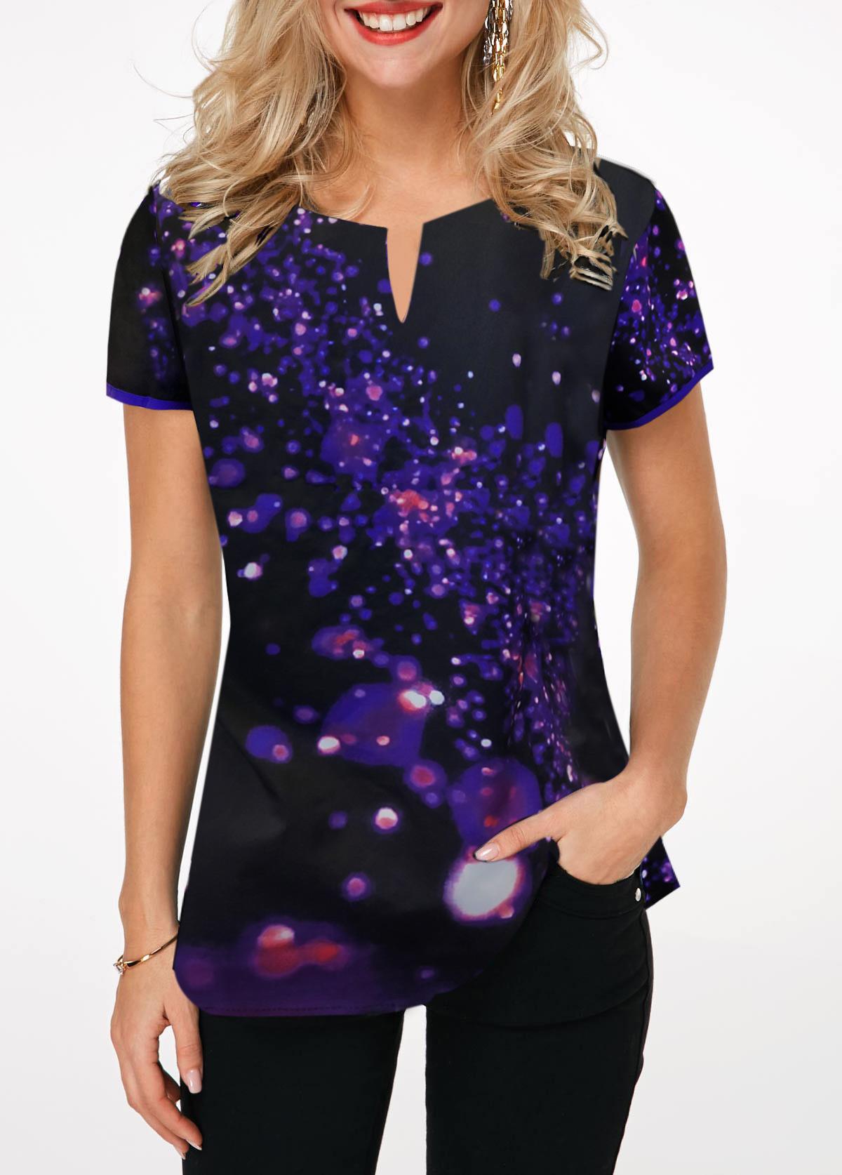 ROTITA Short Sleeve Split Neck Printed T Shirt