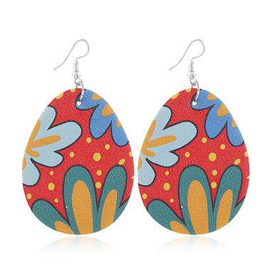 Flower Print Multi Color Plastic Earring Set