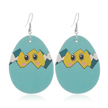 Animal Print Blue Plastic Earring Set