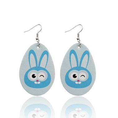 Animal Print Light Blue Plastic Earring Set