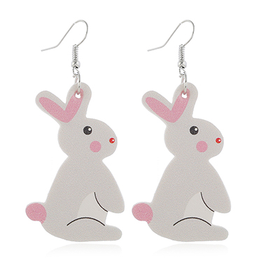 Plastic Light Grey Rabbit Pattern Earring Set