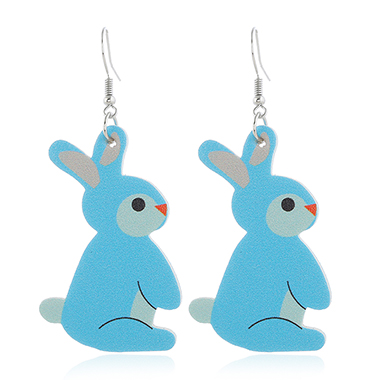 Rabbit Design Plastic Blue Earring Set