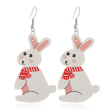 Rabbit Design Plastic White Earring Set