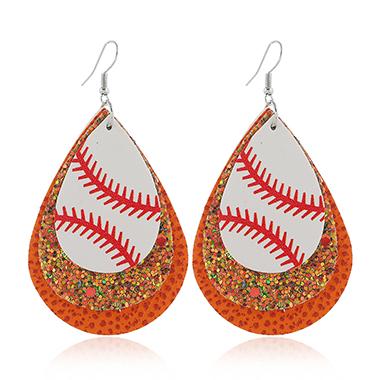 Orange Layered Sequin Detail Earring Set