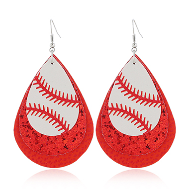 Red Sequin Detail Layered Earring Set