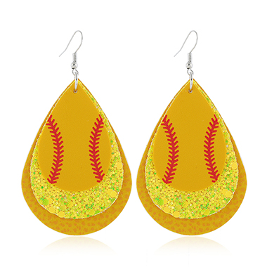 Yellow Sequin Detail Layered Earring Set