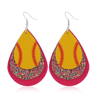 Sequin Detail Rose Red Plastic Earring Set