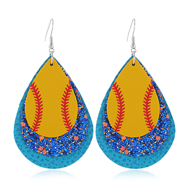 Sequin Detail Plastic Blue Earring Set