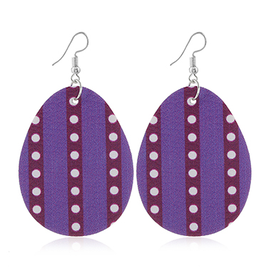 Purple Polka Dot Easter Plastic Earring Set