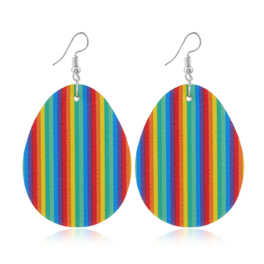 Rainbow Stripe Easter Plastic Earring Set