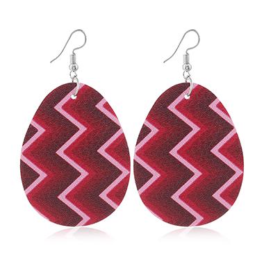 Rose Red Geometric Print Plastic Earring Set