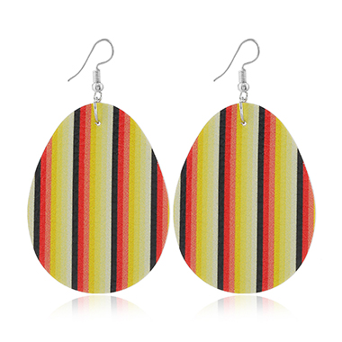 Easter Stripe Print Plastic Earring Set