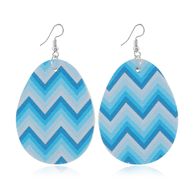 Blue Plastic Geometric Print Earring Set