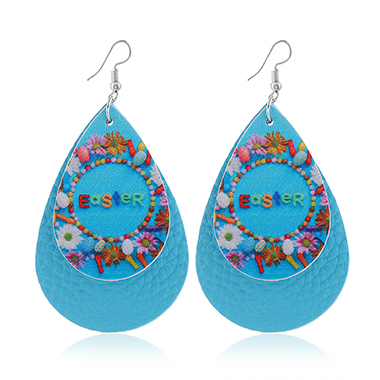Blue Flower Print Layered Earring Set