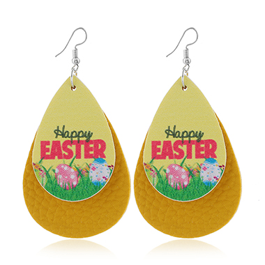 Layered Yellow Flower Print Earring Set
