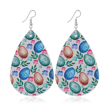 Flower Print Multi Color Faux Leather Earrings