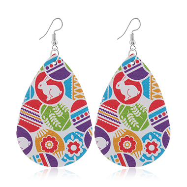 Easter Day Faux Leather Printed Earrings