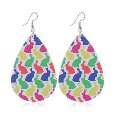 Rabbit Print Multi Color Faux Leather Earrings