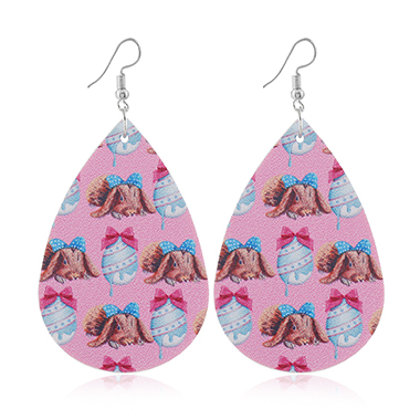 Animal Print Plastic Pink Earring Set