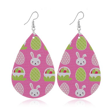 Rabbit Print Plastic Pink Earring Set