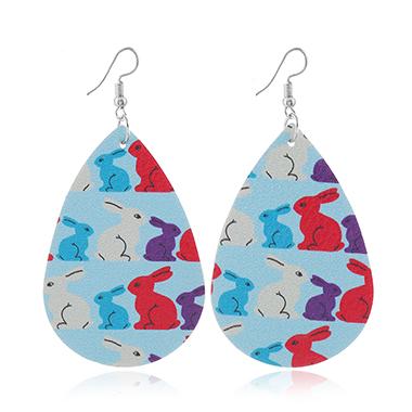 Plastic Light Blue Animal Print Earring Set