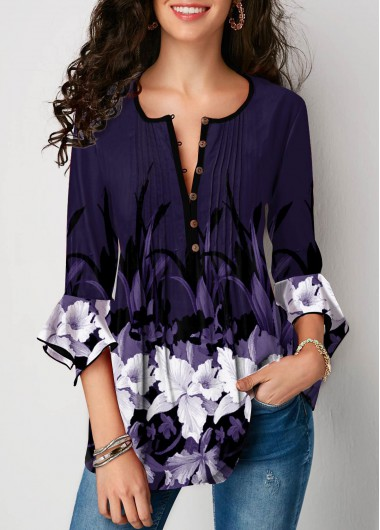 Flare Cuff Floral Print Crinkle Chest Blouse