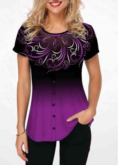 Tribal Print Short Sleeve Purple T Shirt