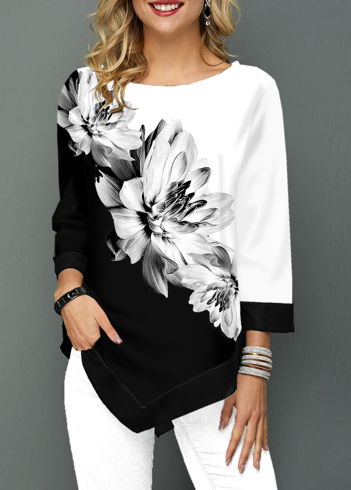 ROTITA Asymmetric Hem Three Quarter Sleeve Flower Print T Shirt