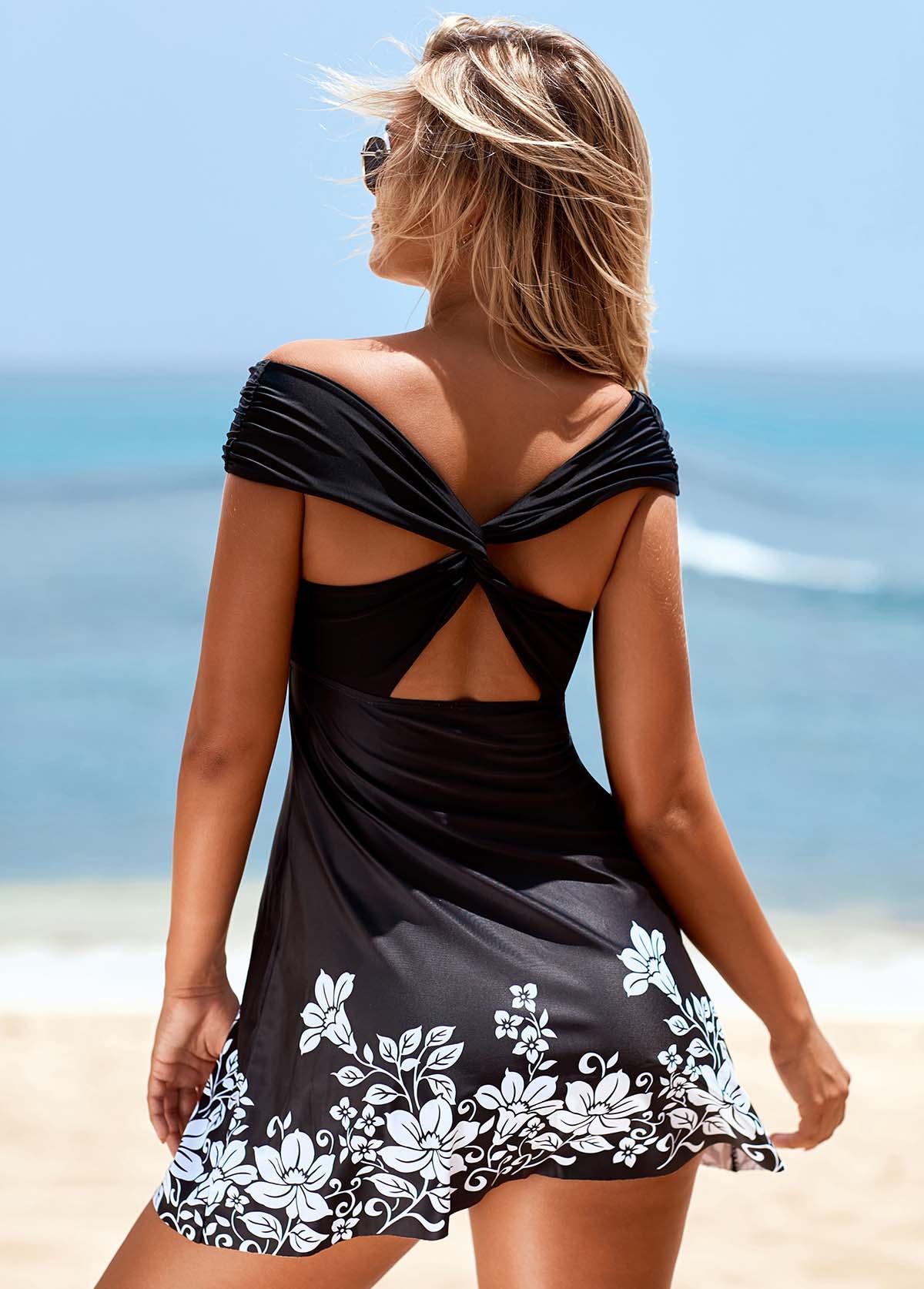 ROTITA Cross Strap Off the Shoulder Flower Print Swimdress and Panty