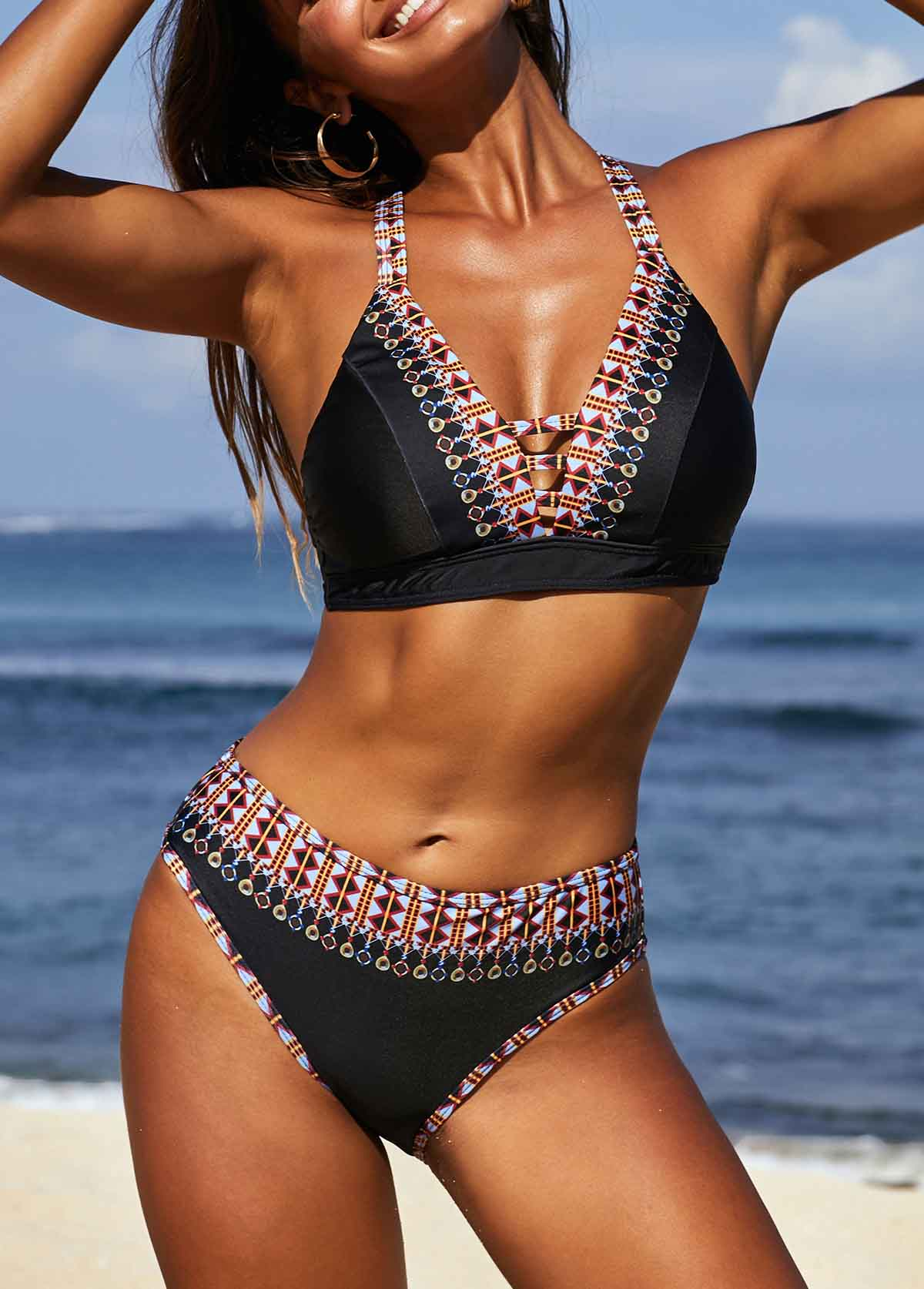 Tribal Print Cross Strap Bikini Set