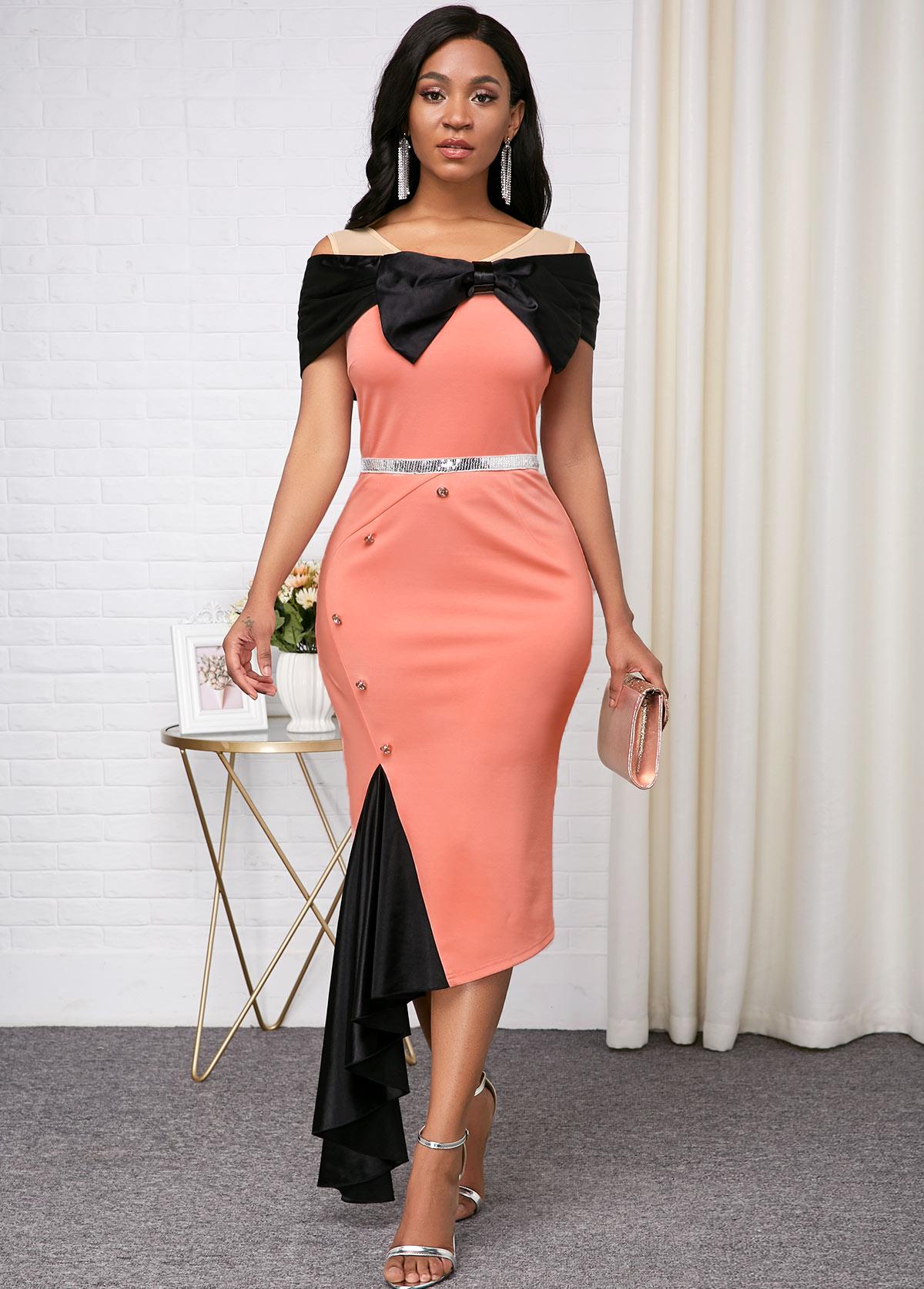 Short Sleeve Asymmetric Hem Color Block Dress