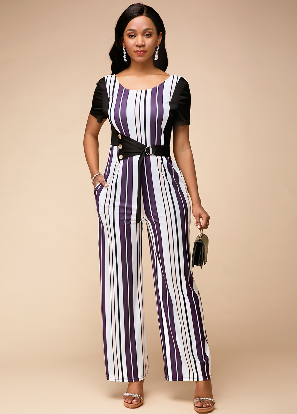 ROTITA Stripe Print Short Sleeve Round Neck Jumpsuit