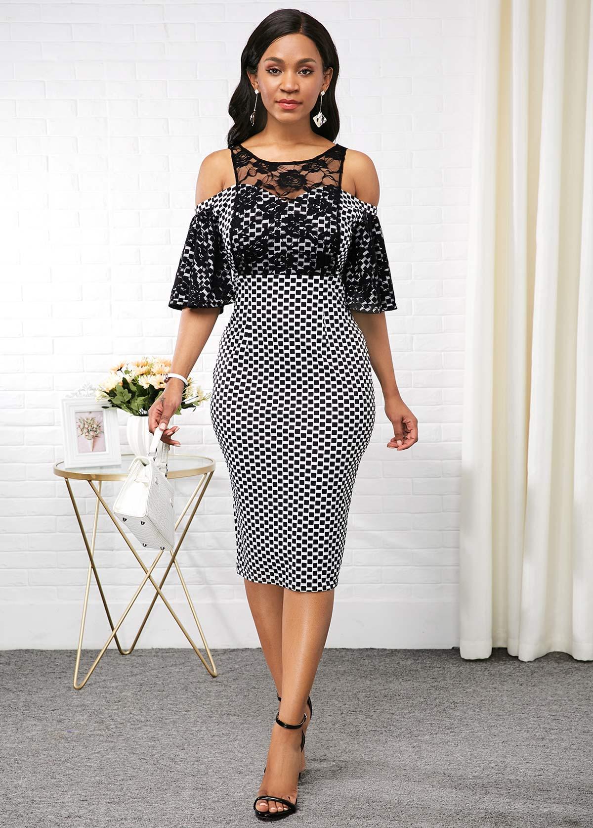 Lace Patchwork Half Sleeve Cold Shoulder Dress