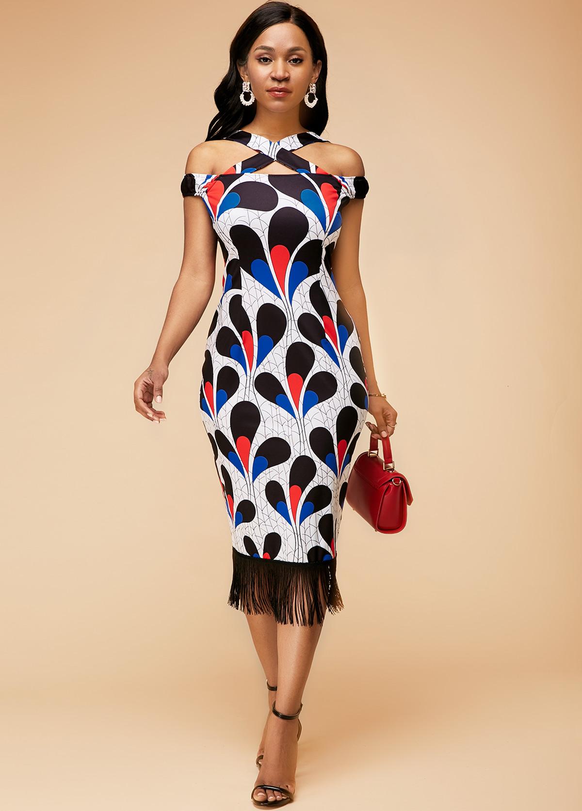 ROTITA Tassel Hem Flora Print Criss Cross Neck Dress
