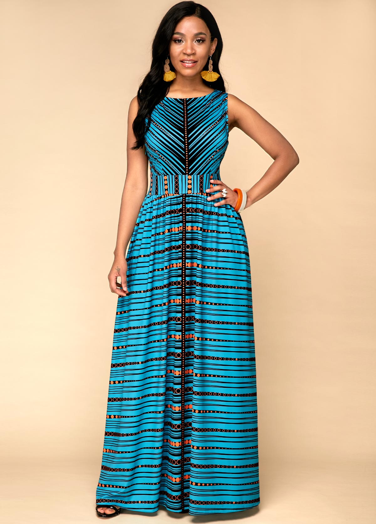 ROTITA Sleeveless Tribal Print High Waist Dress