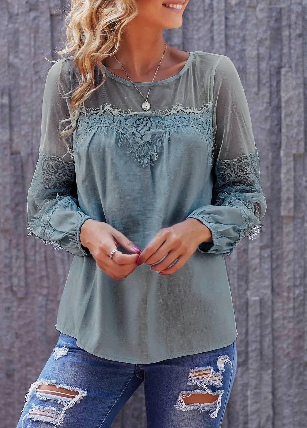 Round Neck Long Sleeve Lace Panel Light Blue Blouse