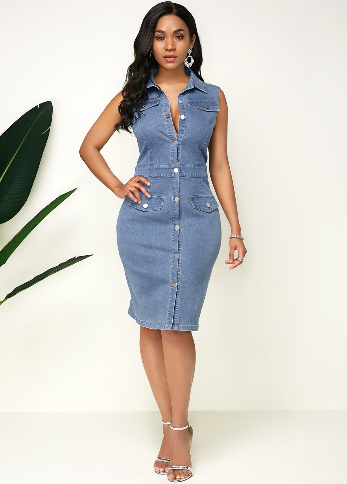 ROTITA Sleeveless Button Up Turndown Collar Denim Dress