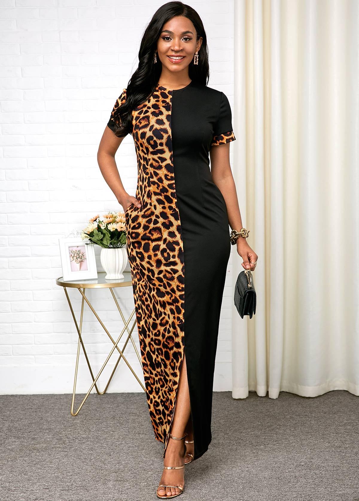 ROTITA Leopard Print Front Slit Short Sleeve Dress