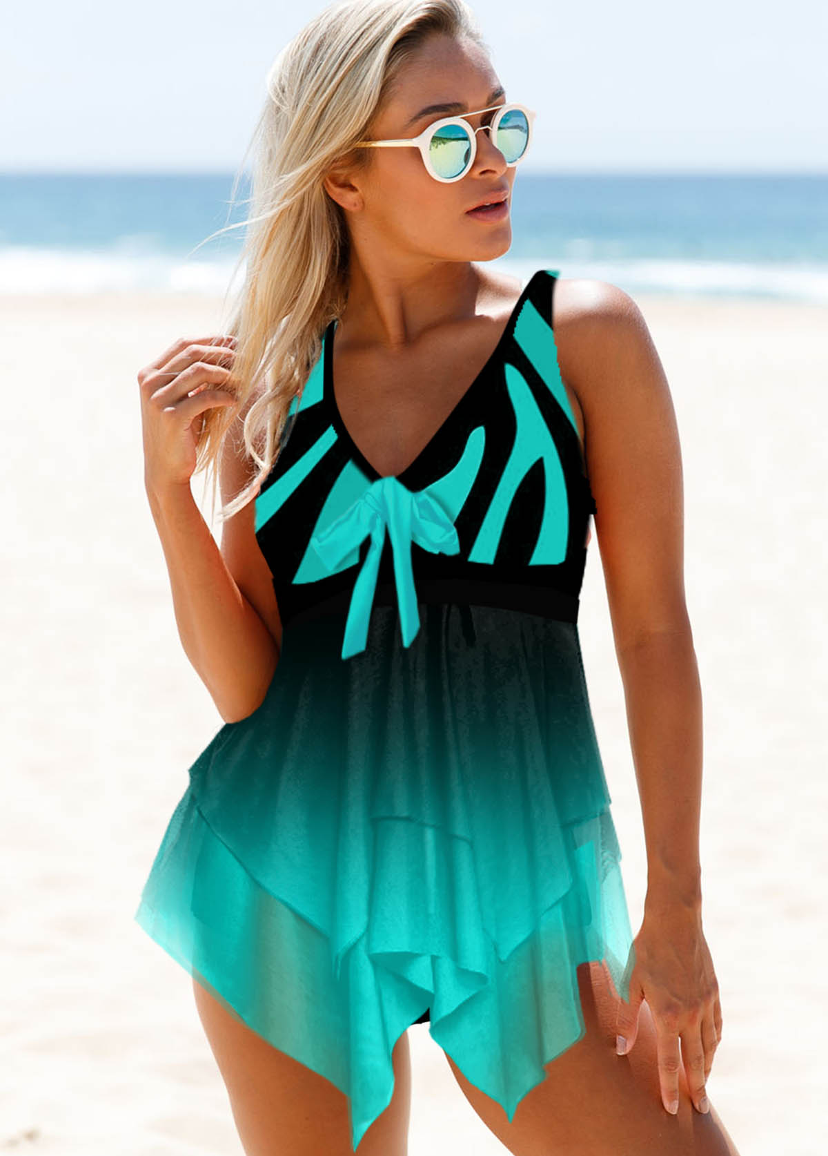 Printed Wide Strap Mesh Panel Swimdress and Panty