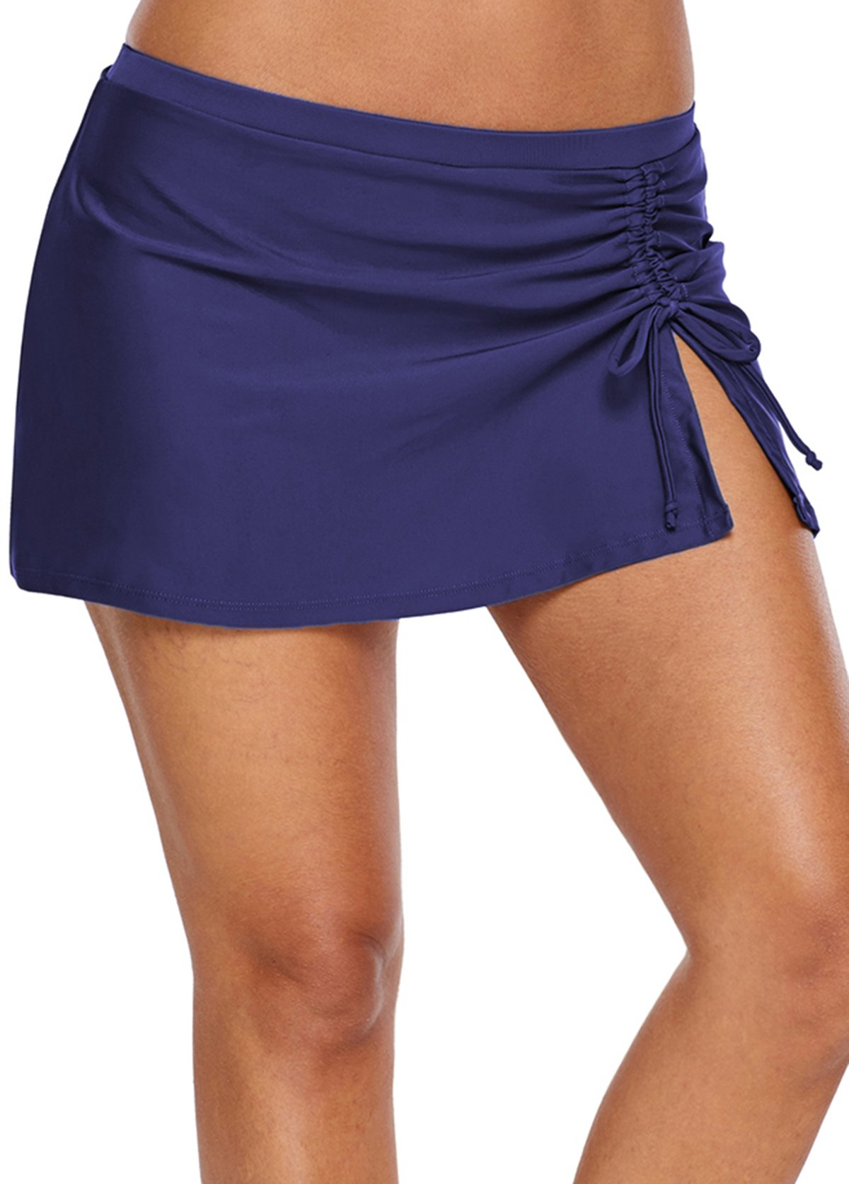 Drawstring Side Mid Waist Nave Blue Shorts