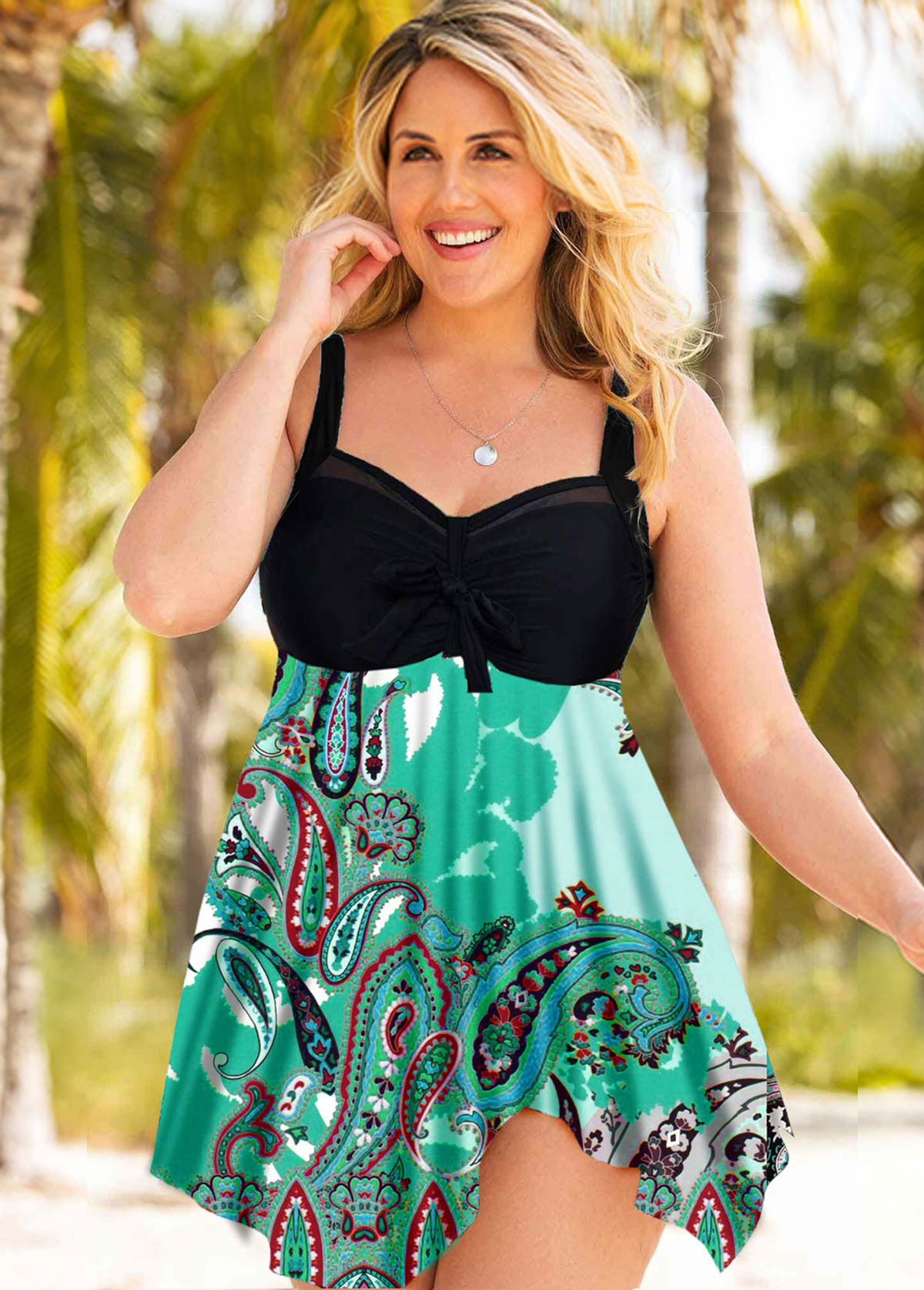 Plus Size Wide Strap Swimdress and Panty