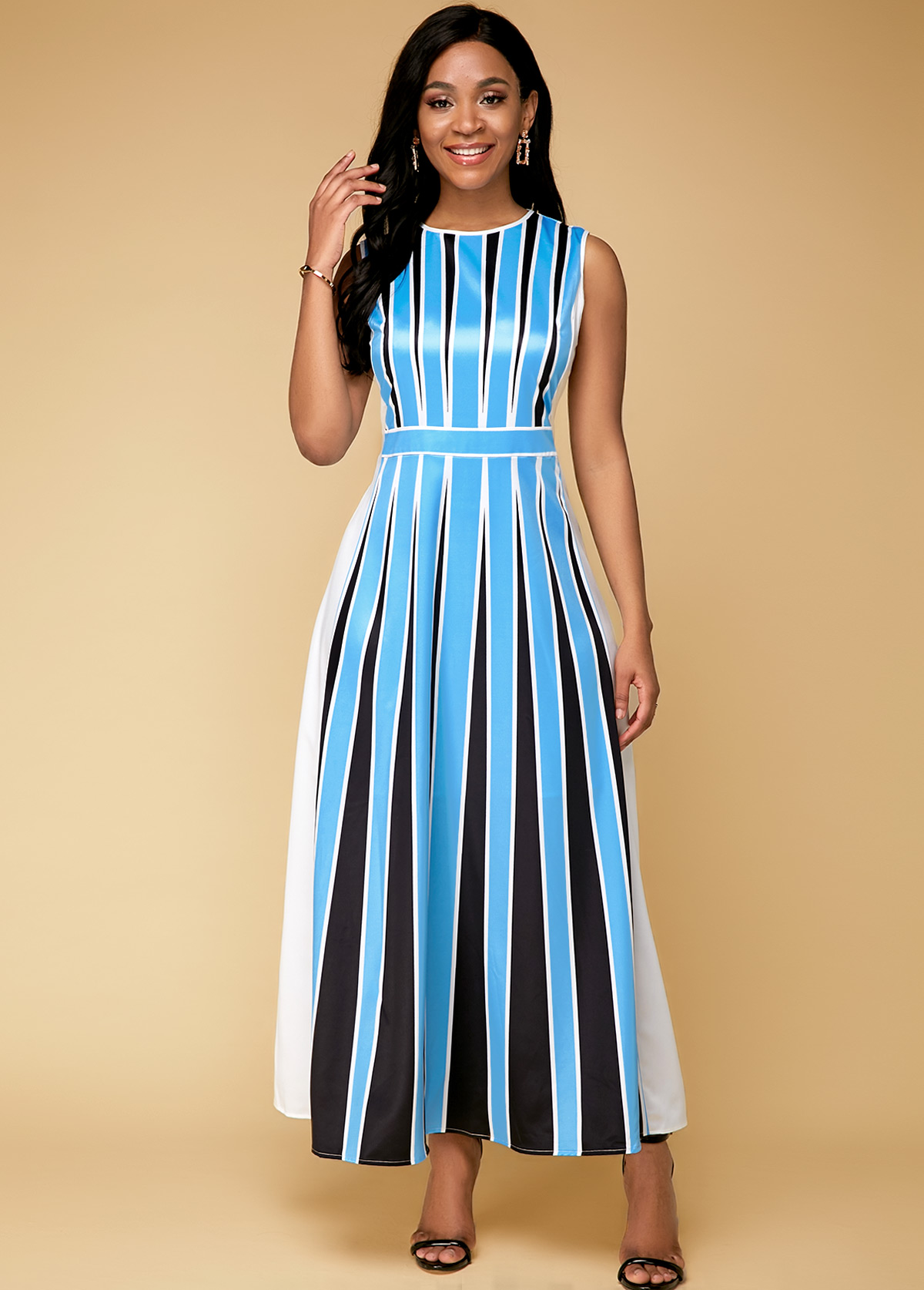 ROTITA Blue Stripe Print Sleeveless Maxi Dress