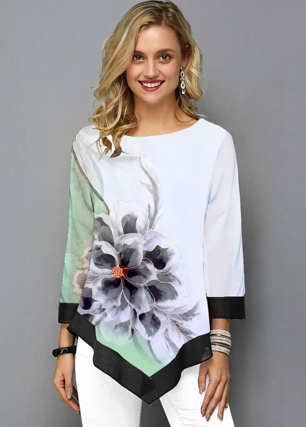 ROTITA Three Quarter Sleeve White Flower Print T Shirt