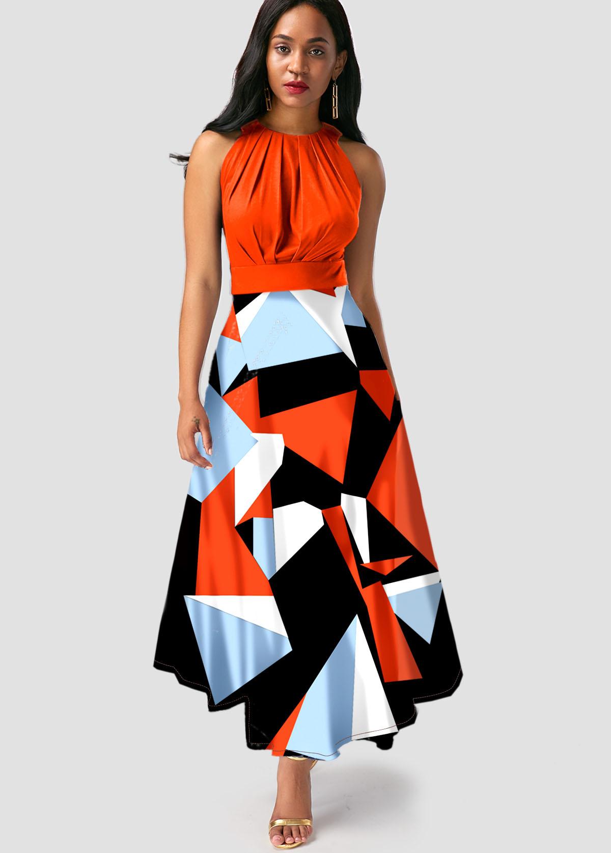 ROTITA Sleeveless Geometric Print Orange Maxi Dress