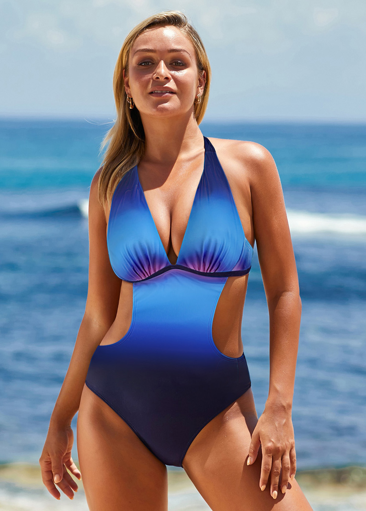 Blue Halter Neck Printed One Piece Swimwear