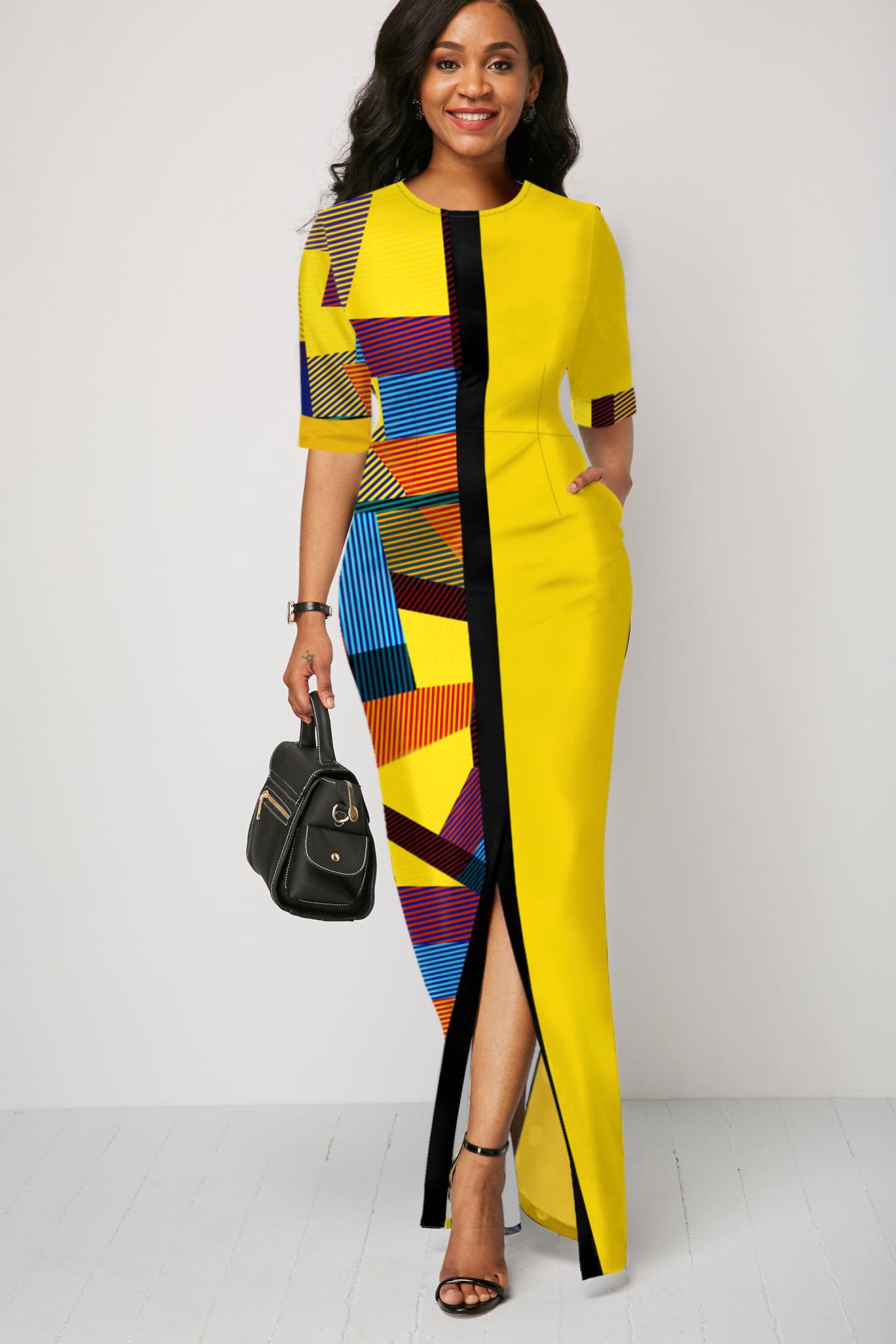 Geometric Print Slit Multi Color Half Sleeve Maxi Dress