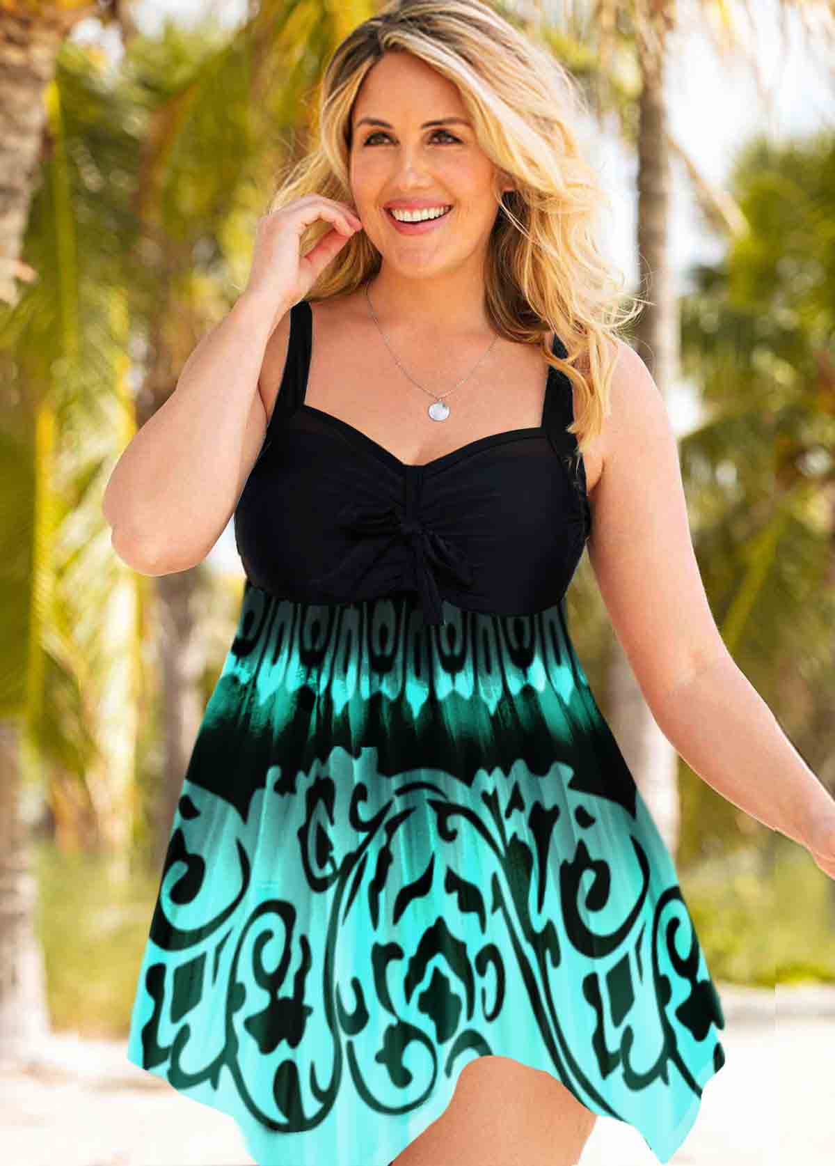 Tribal Print Plus Size Asymmetric Hem Swimdress and Panty